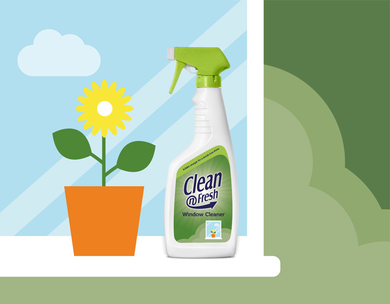Clean 'N Fresh Window Cleaner label illustrations