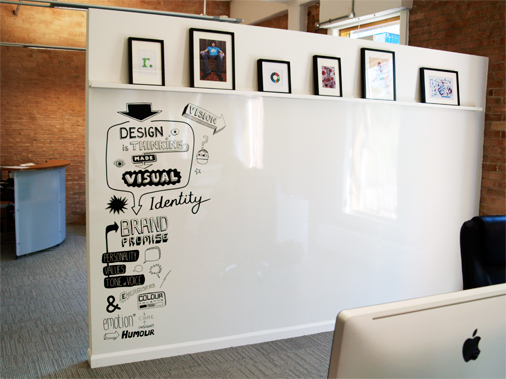 10's doodle wall in the office