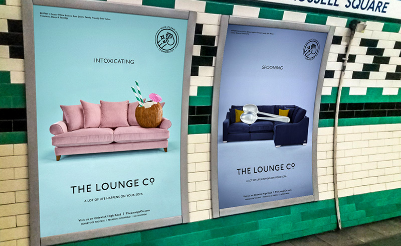 London underground advertising for Lounge Co