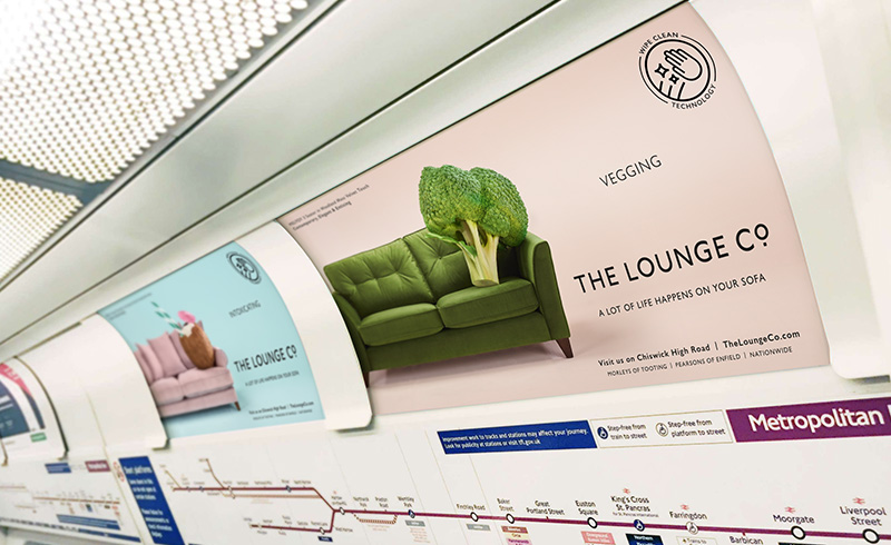 Tube advertising for Lounge Co